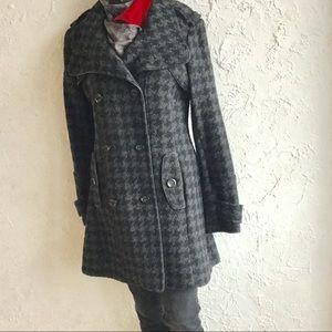 WORTHINGTON Grey houndstooth wool coat -Sz M